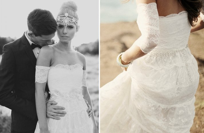 Off the shoulder white lace wedding dress