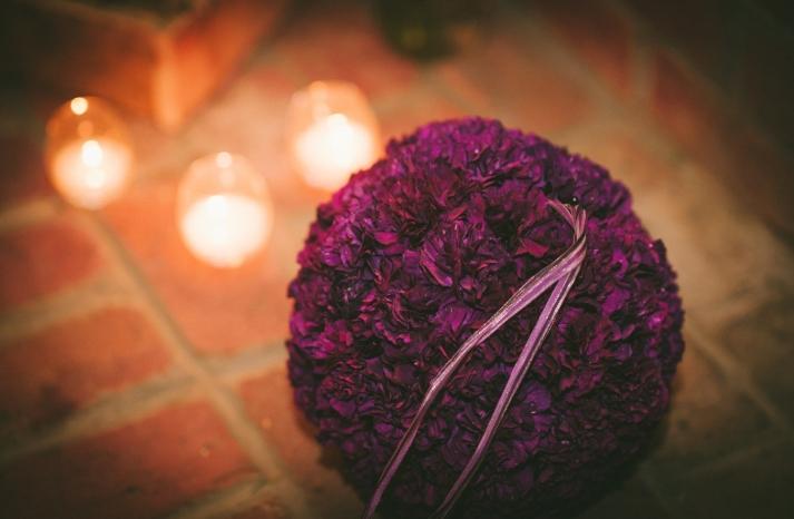Deep fuschia wedding kissing ball