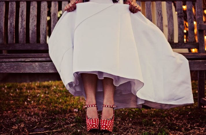 Funky red and white polka dot wedding shoes