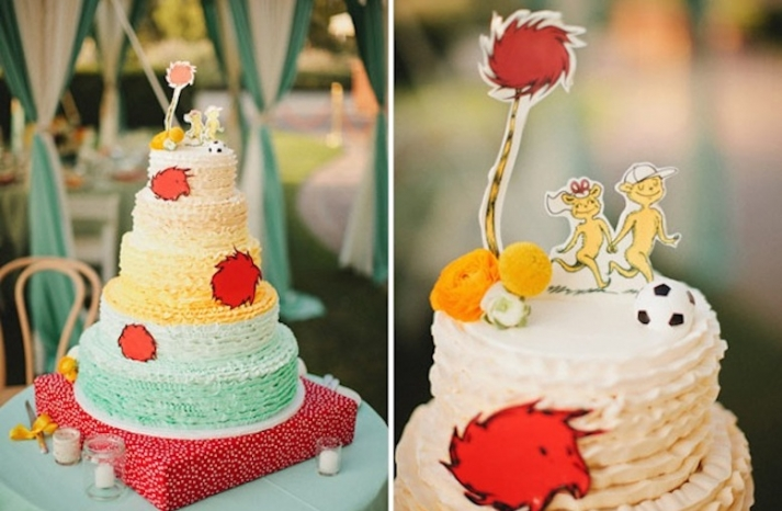whimsical dr seuss themed wedding reception cake