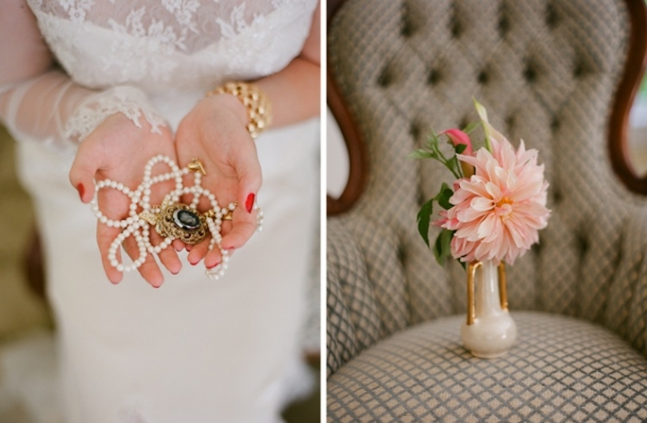 Gatsby inspired wedding theme bridal bling and centerpieces