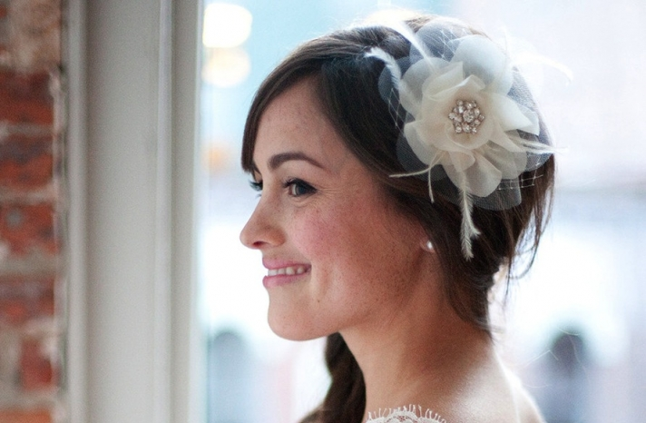 Classic tulle wedding hair flower with crystal accent