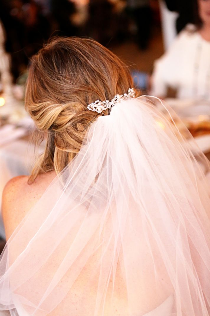 Southern bride wears classic bridal veil and soft half up hairstyle