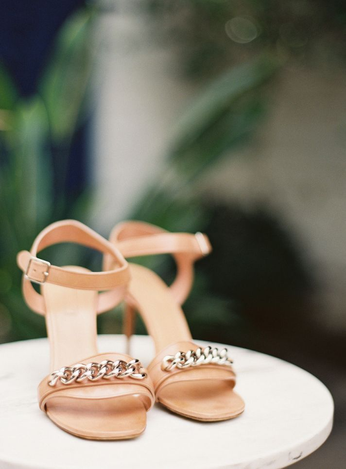 Rose gold patent leather wedding shoes with silver details