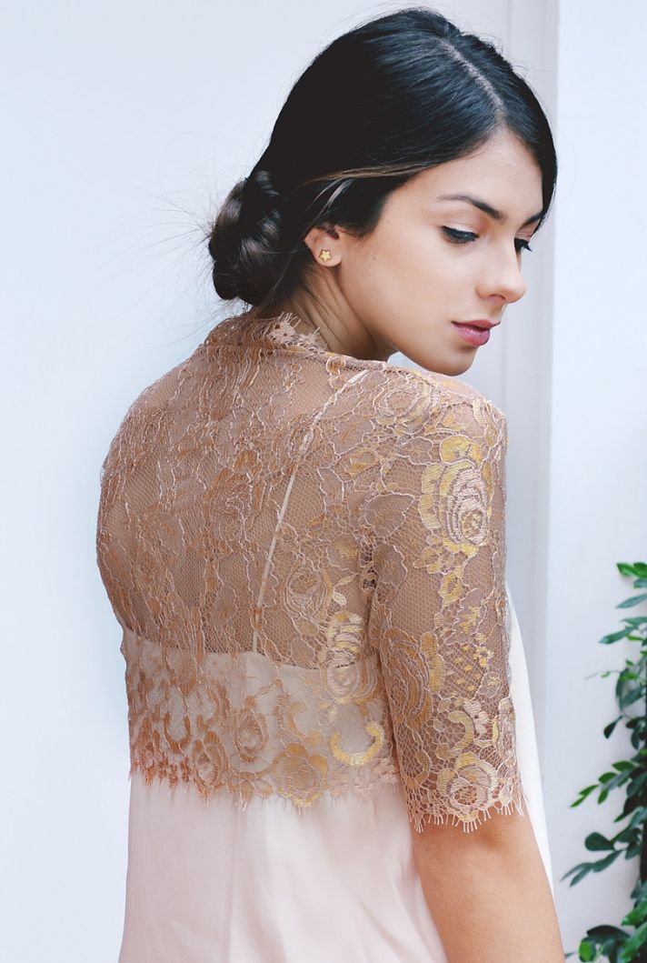 rose gold lace bridal bolero