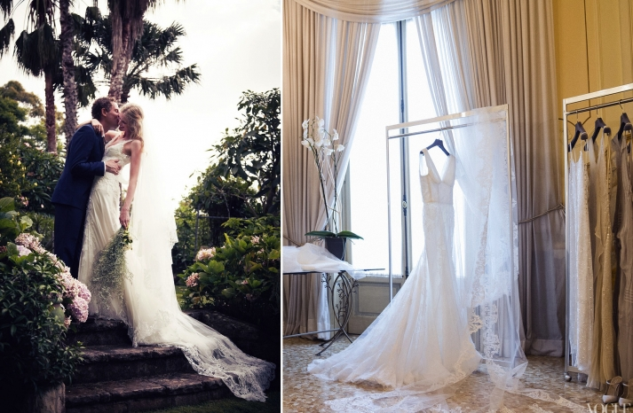 Celebrity weddings Candace Lake custom bridal gown