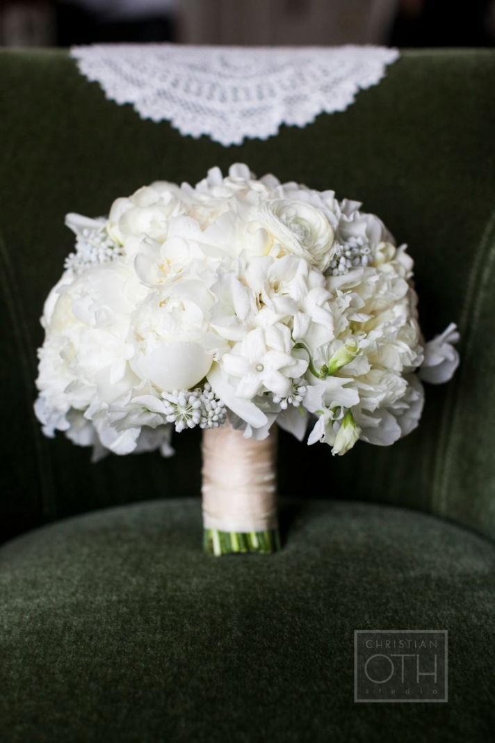 ivory white and dove gray wedding bouquet