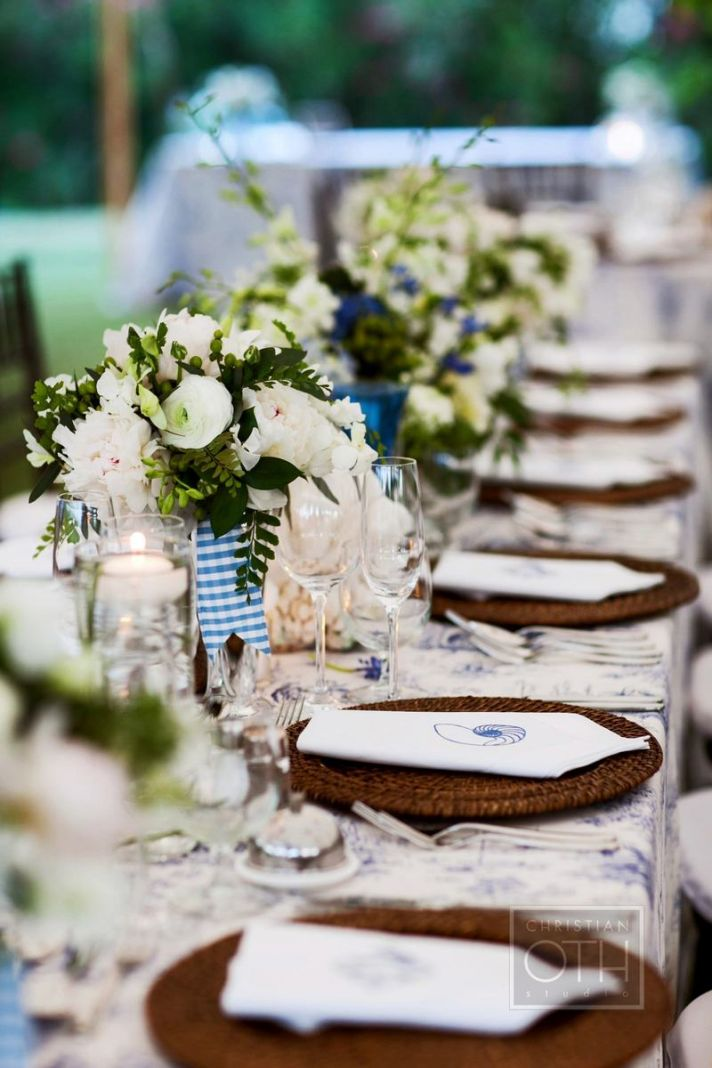 Ivory and blue wedding flower inspiration for summer