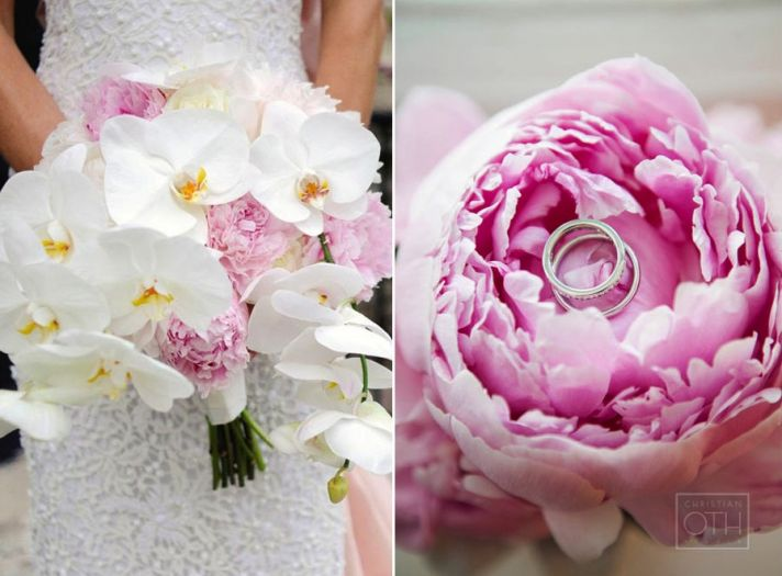Romantic orchid and peony wedding bouquets