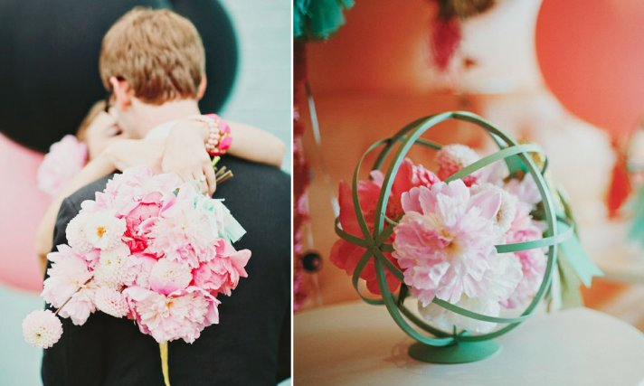 Mint and romantic pink wedding flower bouquet
