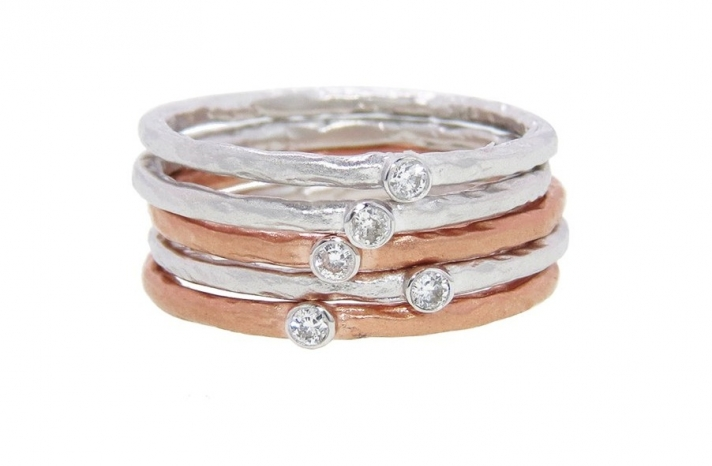 Rose and white gold stackable wedding bands