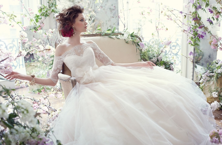 Tara Keely wedding dress Fall 2013 bridal lace illusion sleeves
