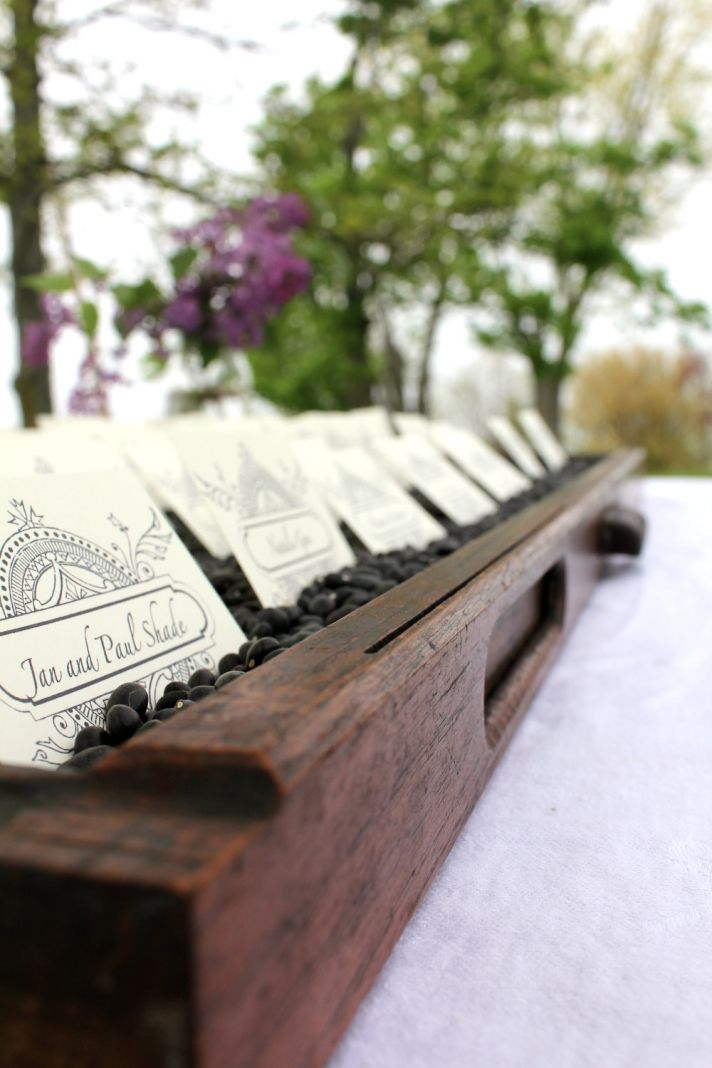 Printers Drawer wedding escort card display