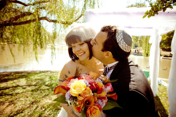 Fun outdoor Jewish wedding ceremony