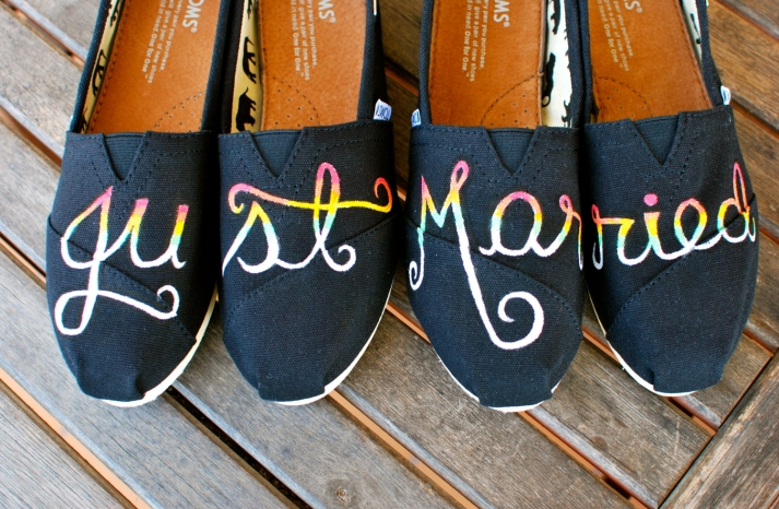 His and Hers Just Married toms wedding shoes