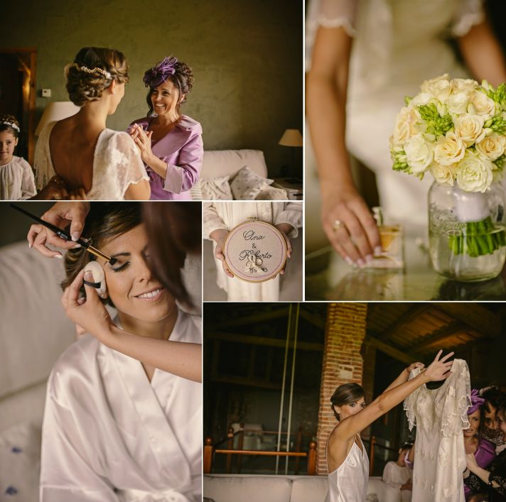 Real Spanish Wedding Otaduy Wedding Dress Outdoor Romantic Bride Getting Ready