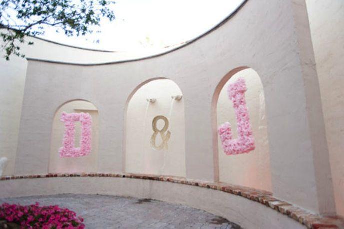 peach pink wedding initials pom poms