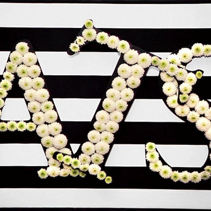 White carnation wedding monogram for modern I Dos