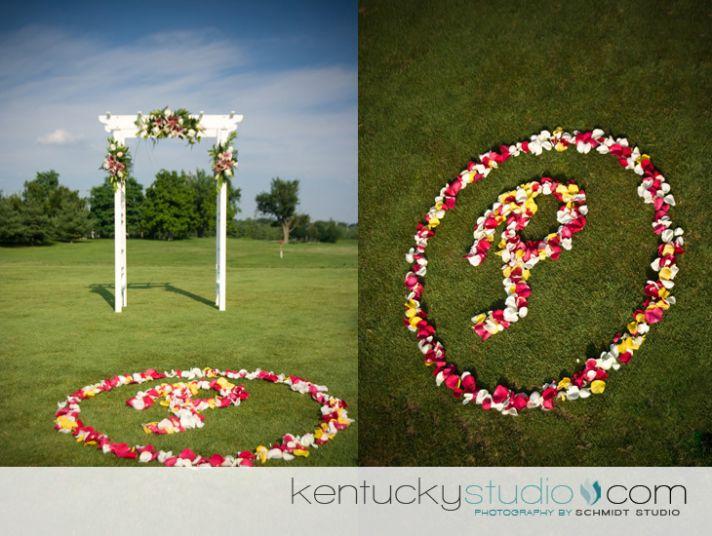 Unique wedding ceremony aisle floral monogram