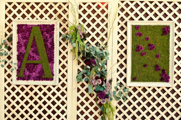Framed moss and floral wedding initials