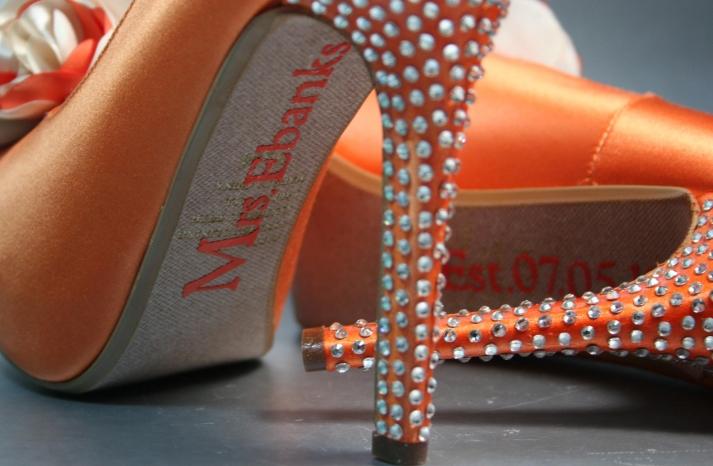 Orange satin wedding shoes with crystal encrusted heel