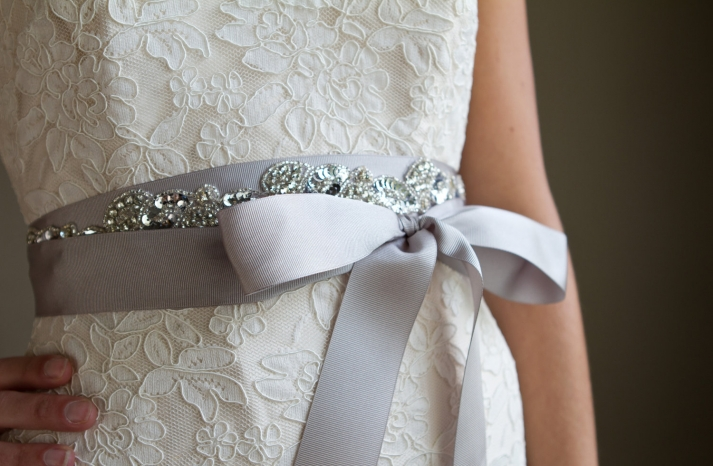 lavender bridal sash with silver beading