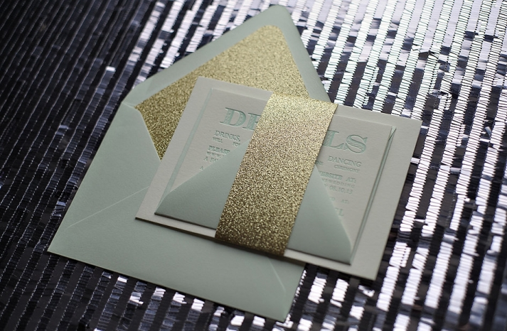Mint gold and ivory wedding invitations