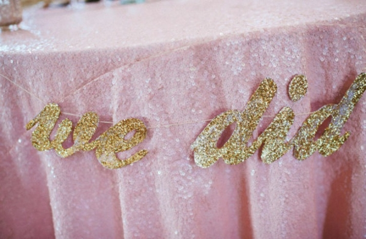 pink sequin table linens with gold I Do sign