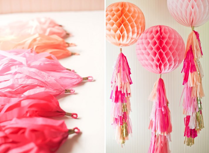 DIY wedding guide pink ombre tassel garland