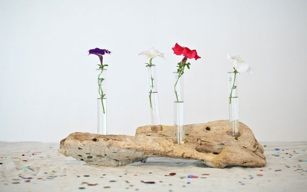 DIY driftwood wedding table accents