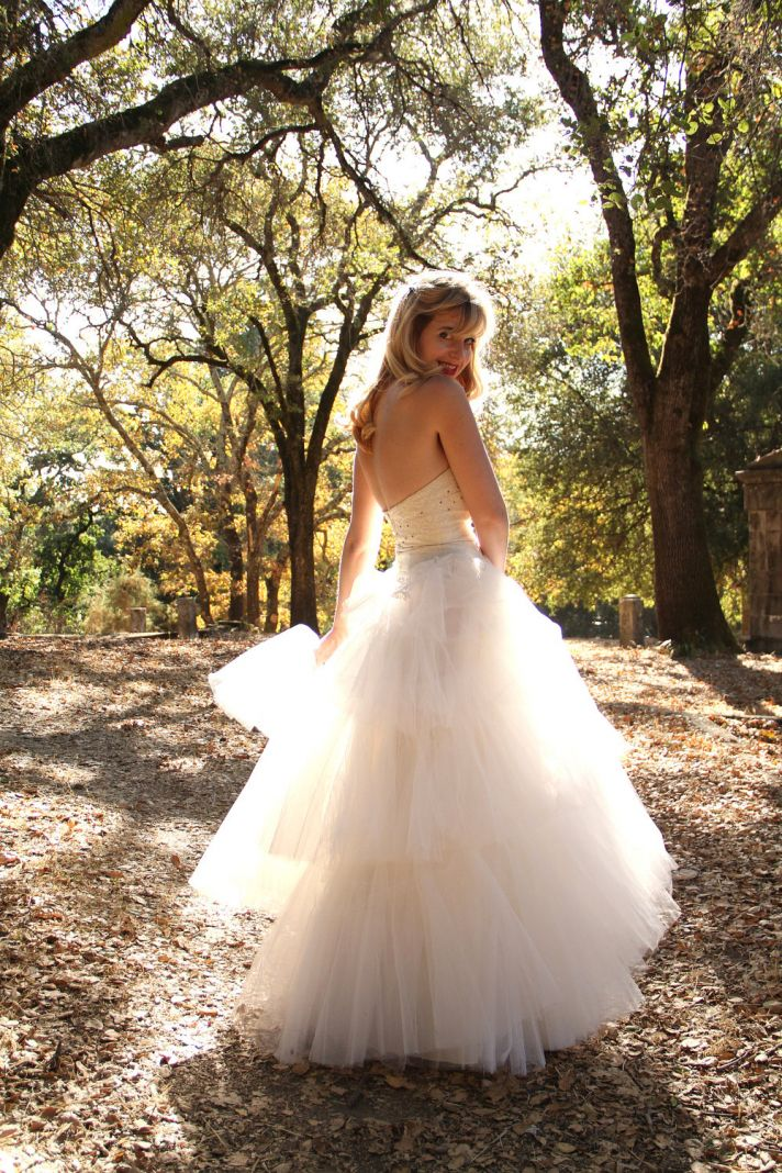 1940s tulle ball gown wedding dress