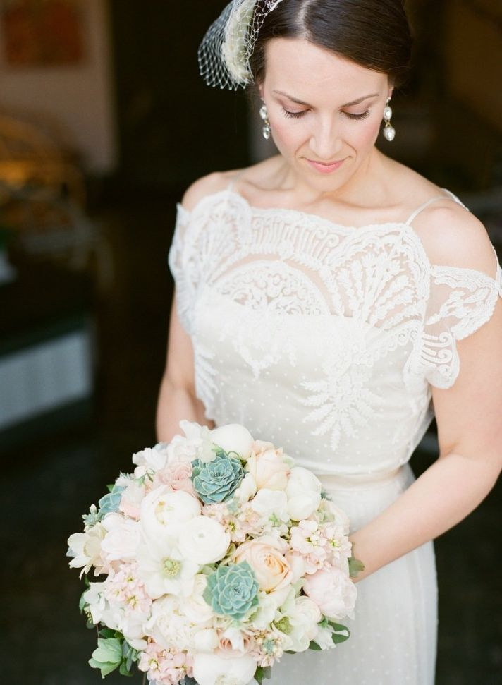 Real bride wears Omelia wedding dress by BHLDN