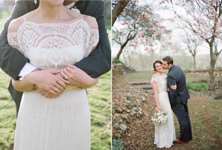 Real bride wears Omelia wedding dress by BHLDN