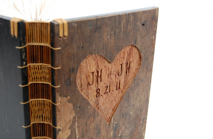 custom rustic wood wedding guest book carved with initials