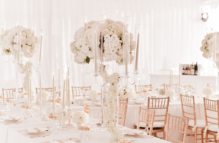 Beautiful white and gold enchanted wedding reception