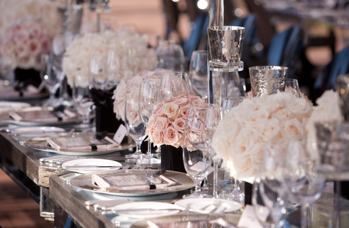 blush pink and ivory rose wedding centerpieces