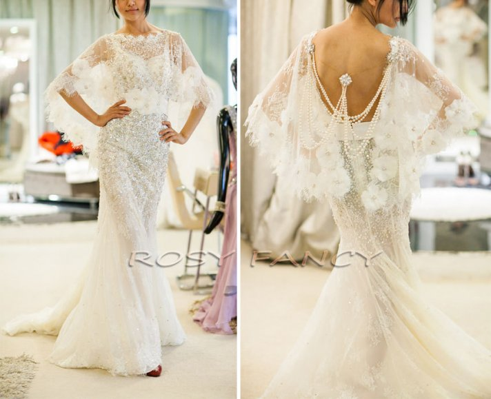 wedding cape with beading and floral applique