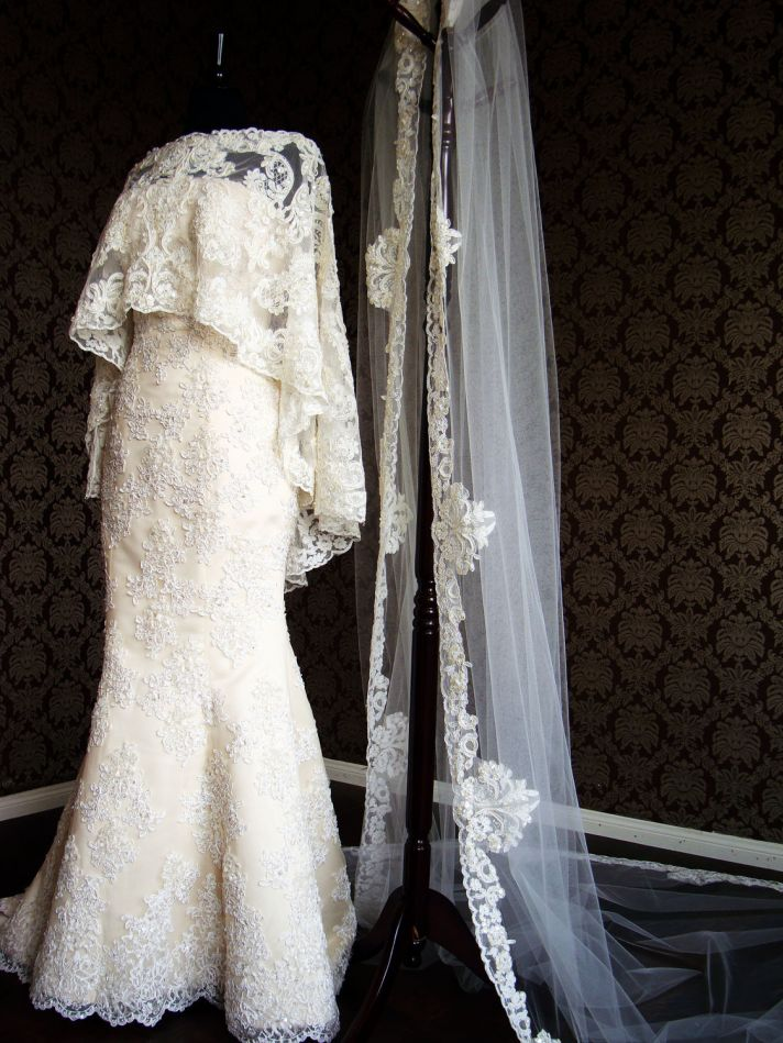 long sleeved lace bridal cape