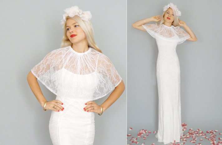 White lace sheer bridal caplet