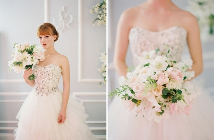 elegant white ivory and green bridal bouquet
