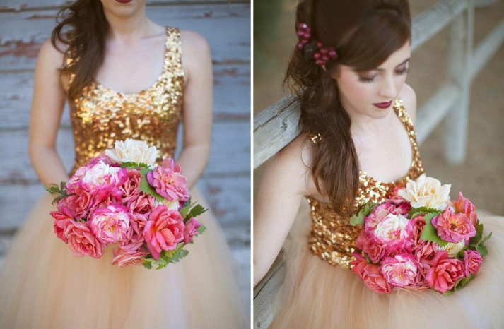 romantic pink and ivory bridal bouquet paired with sparkly gold wedding dress