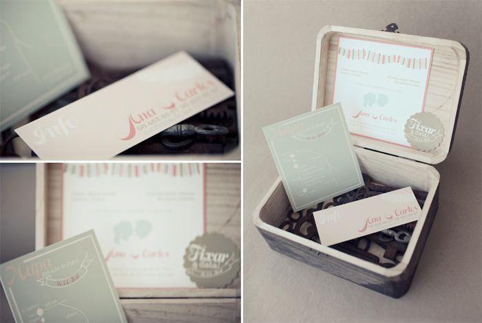 pastel boxed wedding invitation set