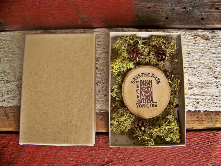 Rustic wood wedding save the date in mossy box