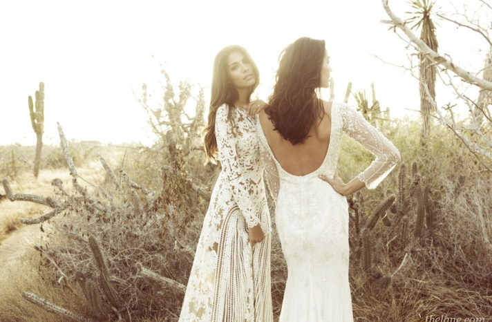 lace sleeved wedding dresses with beading and open backs