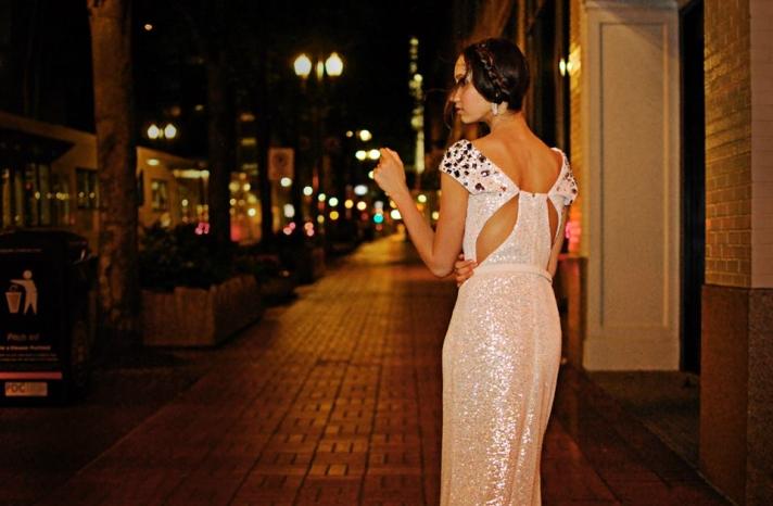 Sunjin Lee wedding dress sequins with statement back