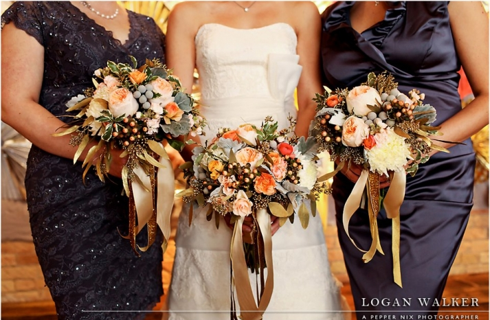 peach champagne sage and gold wedding bouquets