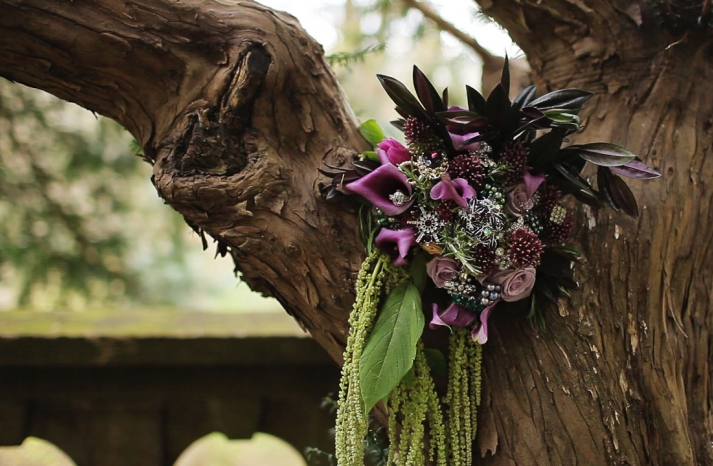 romantic purple and green fall wedding bouquet