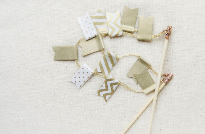 gold and ivory chevron wedding cake topper