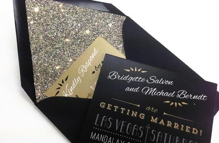 glamorous gold black and white wedding invitations