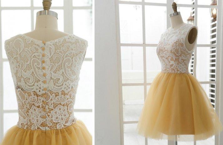 Gold-and-ivoru-lace-bridesmaid-dress